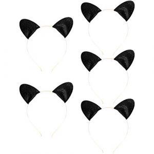 SOLUSTRE 5Pcs Délicat Bandeau de Chat Beau Chat Cheveux Cerceau Chat Oreille Forme Bandeau pour Femmes Filles (Noir) (Vestle, neuf)