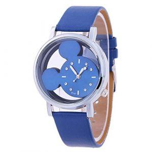 Montre Femme, Mickey Portrait Transparente Cadran Montre à Quartz, Montre Femme (Blue) (MYM-Dream, neuf)