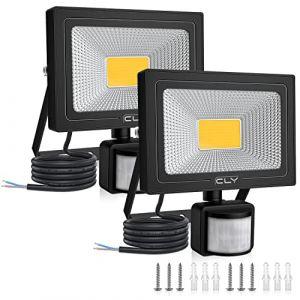 Projecteur LED Avec Détecteur 20W Blanc Chaud, CLY Projecteur LED Extérieur, Spot LED Extérieur Avec Détecteur, 3000K Étanche IP66 Pour Jardin, Patio, Terrasse, Cour, Maison, Allée, Escalier Extérieur (BSSZKJYX, neuf)