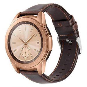 iBazal Bracelet Gear S2 Classic/Gear Sport Cuir 20mm Bandes Straps Compatible avec Samsung Galaxy Watch 42mm/Active 40mm Bands Remplacement pour Huawei 2,Ticwatch 2/E, Vívoactive 3/Vívomove HR - Café (ibazal, neuf)