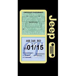 Générique Étui Double Assurance Jeep Calandre Beige Porte Vignette adhésif Voiture Stickers Auto Retro (Stickers-auto-retro, neuf)