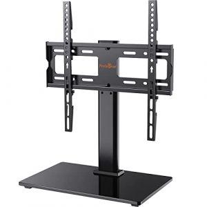 Support TV sur Pied pour Téléviseurs de 32 à 55 Pouces - Support Pivotant de TV Réglable en Hauteur avec Base en Verre Trempé, VESA Maximal 400x400 mm, Capacité de 40 kg (JICH EU, neuf)