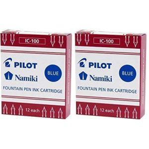 Pilot Namiki IC100Stylo plume cartouche d'encre, Bleu, 12cartouches par lot (lot de 2) (Europens, neuf)
