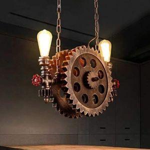 Dicai 2-Lumières Rétro Industriel Grand Engrenage Lustre Vintage Steampunk Métal Pipe À Eau Plafond Pendentif Lumière E27 Suspension Lampes for Restaurant Café Décor (Xin Hongming, neuf)