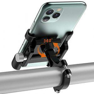 TEUEN Porte Telephone Velo Aluminium Support Téléphone pour Velo Moto Trottinette, Fixation Support Smartphone Moto avec 360° Rotation pour 4-6,5 Pouces (Noir) (TEUEN, neuf)