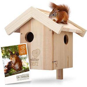 Nichoir pour Ecureuil en Bois - Maison pour Écureuils, Imperméable et Résistant aux Intempéries, Hotte pour Écureuil avec 3 Entrée (Görges Markenwelt, neuf)