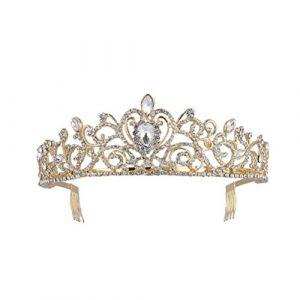 Frcolor Bling Cristal Reine Tiare Cœur Strass mariée Couronne avec peigne de côté (bethphia, neuf)