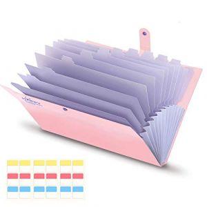 Trieur a4 Extensible avec 13 Compartiments Organiseur Documents Imperméable, Souple, et Légère, Classeur a4 Rosa by KONVINIT (KONVINIT, neuf)