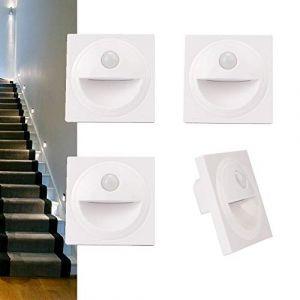 Arote LED Applique Encastré Murale d'escalier éclairage étape escalier lampe avec Détecteur de Mouvement en Plastique IP20 (Blanc, 6000K) (Wonderful2018, neuf)