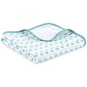 Emma & Noah couverture pour bébés, extra douce et moelleuse, 100% coton, 120 x 120 cm, à 4 couches, ideale comme couverture pour poussette, plaid, doudou, couverture de naissance / d'allaitement (Emma&Noah, neuf)