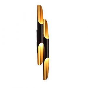 LFsem 70CM Applique Murale Intérieure LED Postmoderne Or et Noir En Aluminium Applique Lampe Murale Creative Tube Oblique Tube De Bambou Lampe de Mur pour Chambre Salon Hôtel Corridor E27 X 2 (Tube double) (LFsem, neuf)