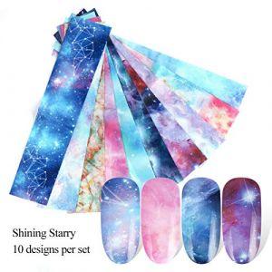 10 Feuilles Ensemble Holographique Starry Nail Art Autocollants Nail Art Stickers Nail Art Papier Nail Transfer Sticker Classique Étoilé Marbre Étoil Étincelant (artlalic, neuf)