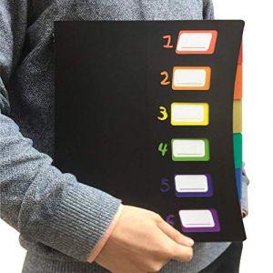 6 Compartiments Trieur A4 Document - Colorés Pochette Extensible Range Porte Accordéon Classeur Plastique Portable Dossier de projet pour la Maison/Bureau/L'école Avec Étiquettes de Couleur(Noir) (Zhang-home, neuf)