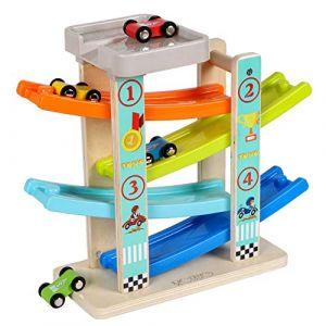 Toys of Wood Oxford Circuit Rampe Voiture - Rampe Jouet en Bois avec Parking Voiture sur Le Toit - Jeu de Course 4 Voitures en Bois - Circuit Voiture Enfant pour Garcon et Filles 1 2 3 et 4 Ans (Toys of Wood Oxford, neuf)