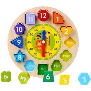 Afunti Horloge en Bois Jouet Éducatif Apprendre à Lire l'Heure Blocs de Construction Reconnaissance de Numéro la Forme Puzzle - Horloge (JuHan, neuf)