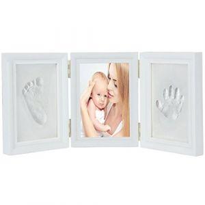 JZK blanc bébé empreinte de la main empreinte cadre photo kit pour garçons et filles parfait cadeau de douche de bébé,premium argile et cadres en bois (réussi le test de sécurité des jouets EN71) (JZK Express Network, neuf)