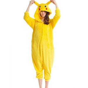 mauea Pyjama Animaux Cosplay Halloween Costume Déguisement Combinaison Vêtement de Nuit Adulte Femme Homme Unisexe (Pikachu,S) (Mauea Shop, neuf)