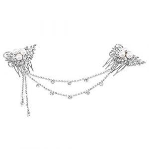 Frcolor Serre-tête de mariage avec peigne et perles en cristal (Ansuen, neuf)