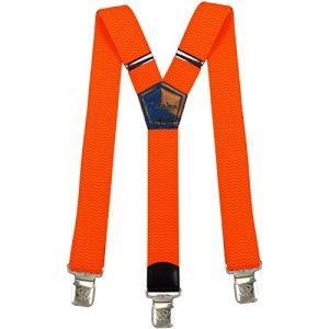Bretelles Y entièrement réglable pour Homme Femme 4 cm avec 3 clips élastique Solide Casual Pantalon Jeans Différentes couleurs, Orange Vif, Lange (Decalen France, neuf)