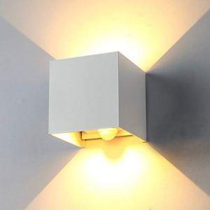 ENCOFT 12W Applique Murale avec Détecteur de Mouvement pour Extérieur Intérieur, Luminaire Mural LED Angle Réglable, Éclairage Mural IP67 Etanche Blanc Chaud 3000K, Couloir Jardin Chambre Blanc (Topmail, neuf)