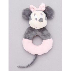 Hochet en peluche 'Minnie Mouse' gris/rose pâle - Taille TU