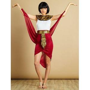 Déguisement de reine égyptienne rouge/blanc - Taille XS/S