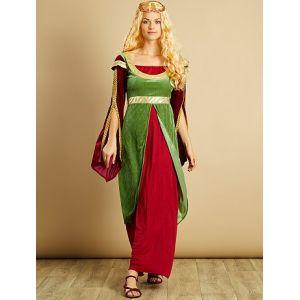 Déguisement de princesse médiévale bordeaux/vert - Taille XL