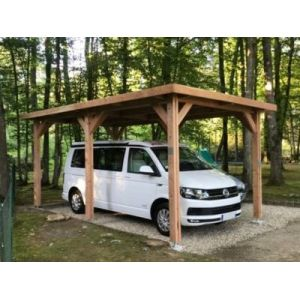 Abri à toit plat pour voiture 410 x 610  cm Ile-De-France en bois Douglas CPBF