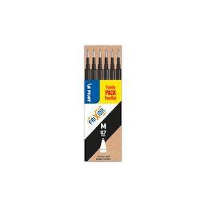 Pochette de 6 recharges pour stylo FriXion pointe moyenne 0,7 mm - noir