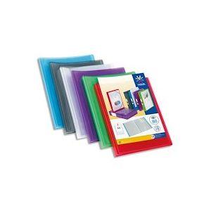Protège document 80 vues  Coloris assortis : Incolore-Bleu- Violet-Rouge-Vert - Lot de 12