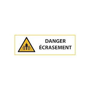 Panneau de danger ISO EN 7010 - Ecrasement - W019  - 297 x 105 mm - Vinyle Souple Autocollant - Lot de 3