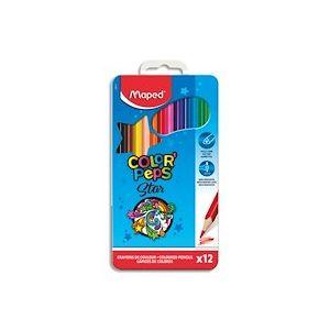 Boite métallique de 12 crayons de couleur assortis - Lot de 4