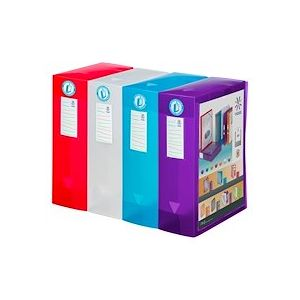Boîte de classement plastique Viquel translucide personnalisable dos 10 cm - couleurs assorties - Lot de 4