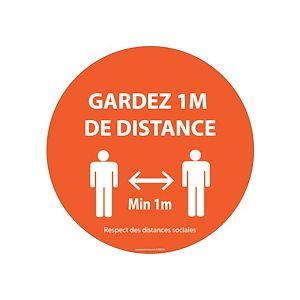 Panneau ou Autocollant Gardez 1m de distance orange Vinyle ou PVC Diam:100 /200/ 315 mm - Vinyle Souple Autocollant - 100 mm