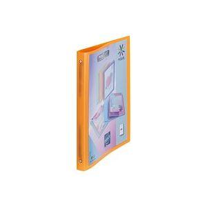 Classeur 4 anneaux plastique Viquel A4 personnalisable dos 2,5 cm orange translucide
