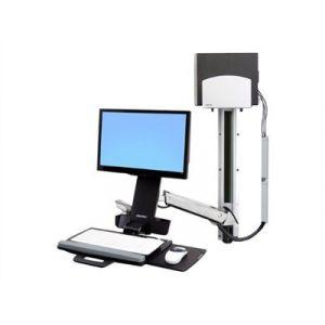 Ergotron Sit-Stand Combo System With Medium Silver CPU Holder - Kit de montage (bras articulé, fixation murale) pour écran LCD / clavier / souris / lecteur de codes à barres / unité centrale (Soulever et pivoter) - plastique, aluminium - Taille d'écran :
