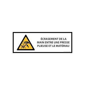Panneau de danger ISO EN 7010 - Écrasement de la main entre une presse plieuse et le matériau - W031  - 297 x 105 mm - Vinyle - Lot de 3