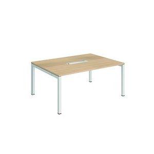 Table de réunion chêne clair Team Line pieds blanc