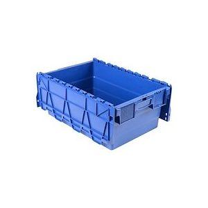 Bac de stockage navette avec couvercle en plastique bleu - 44 litres
