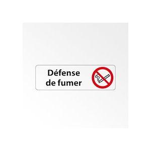 Panneau Signalétique - Défense de fumer  - 250 x 80 mm - Blanc