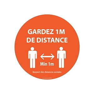 Panneau ou Autocollant Gardez 1m de distance orange Vinyle ou PVC Diam:100 /200/ 315 mm - PVC - 315 mm