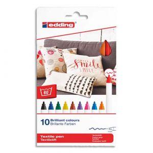 Pochette de 10 Marqueurs E-4600 spécial textile Assortis Standard - Trait 1 mm - Lot de 2