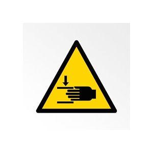 Pictogramme de Danger ISO 7010 - Écrasement des mains - W024  - Vinyle Souple Autocollant - 200 mm - Lot de 2