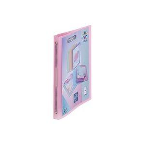 Classeur 4 anneaux plastique Viquel A4 personnalisable dos 2,5 cm rose translucide