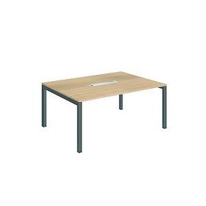 Table de réunion chêne clair Team Line pieds anthracite