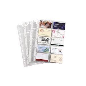 Pochette transparente perforée cartes de visite Viquel A4 Polypropylène 11/100e incolore - Paquet de 10