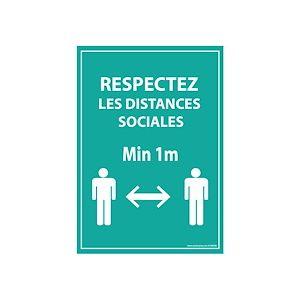 Panneau Respectez les distances - bleu A5-A4 - autocollant ou panneau - A4 - PVC