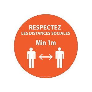 Panneau Respectez les distances orange Vinyle ou PVC Diam:100mm à 315mm - Vinyle Souple Autocollant - 315 mm