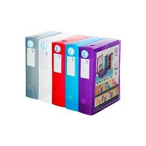 Boîte de classement plastique Viquel personnalisable dos 8 cm - couleurs assorties - Lot de 6