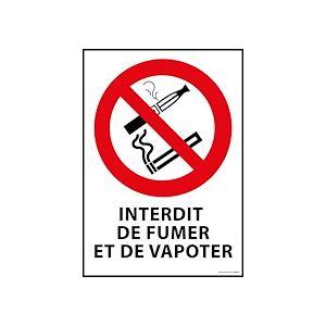 Panneau - Interdiction de fumer et vapoter  - PVC dos adhésif - A4